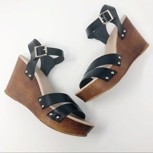 Aldo Leather Black Wedge Sandals